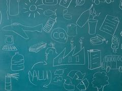 Recycling illustrations on blackboard - stock photo