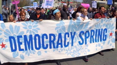 Slow motion footage of the Democracy Spring protest march in Washington, D.C.  Stock Footage
