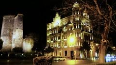 Historical Sites in Downtown Baku, Azerbaijan at Night Stock Footage