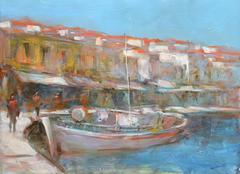Boats on the island harbor,handmade painting - stock illustration