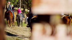 Iron Horseshoes on Dude Ranch in Corral USA - stock footage