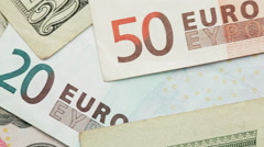 Pile of Euro and Dollar Banknotes Stock Footage