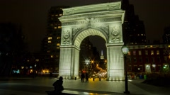 Washinton Square Arch & Empire State Building- Timelapse Slider- Chilly Night Stock Footage
