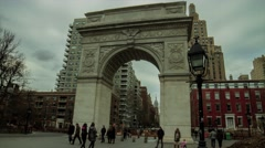 Washinton Square Arch & Empire State Building Timelapse Slider- Cloudy Day.mp Stock Footage
