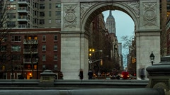 Washington Square Arch & Empire State Building Timelapse Slider- Lights Come On Stock Footage