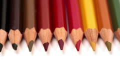 Color pencils a white background Stock Footage