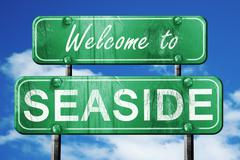 seaside vintage green road sign with blue sky background - stock illustration