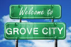 Stock Illustration of grove city vintage green road sign with blue sky background