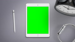 4K - Green screen ipad on office desk - stock footage