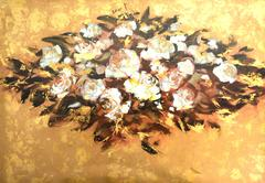 White roses ,handmade painting - stock illustration