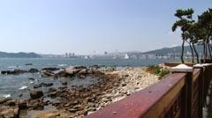 View to the Gwangan bridge in Busan, Korea. Stock Footage