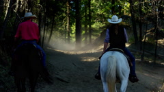 Horses galloping in Roundup on Dude Ranch with Cowboy Riders Stock Footage