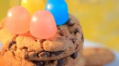 10 - Biscuits - Candy - Closeup - 06 Stock Footage
