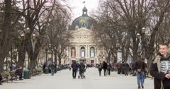 4K timelapse Opera House Lviv Stock Footage