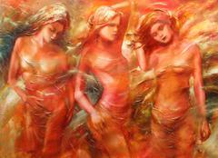 Female figures handmade painting Stock Illustration