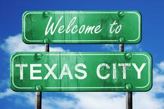 Texas city vintage green road sign with blue sky background Stock Illustration