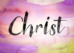Christ Concept Watercolor Theme - stock illustration