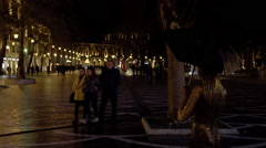 Public Fountain Square in Downtown Baku, Azerbaijan Stock Footage