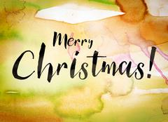 Merry Christmas Concept Watercolor Theme Stock Illustration