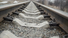 Train rails sunset industry dolly Stock Footage
