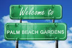 palm beach gardens vintage green road sign with blue sky backgro - stock illustration