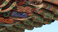 Painted roof of the pavilion at the temple in Busan, Korea. Stock Footage