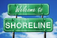 Shoreline vintage green road sign with blue sky background Stock Illustration