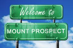 Stock Illustration of mount prospect vintage green road sign with blue sky background