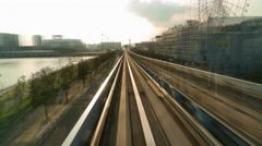 Elevated metro train journey - stock footage