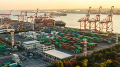 Time lapse, container Port, Tokyo, Japan Stock Footage