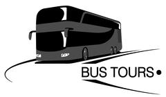 Big tour bus on road. Bus tours. Flat tourist bus vector illustration - stock illustration