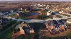 Aerial view of stunning upper class neighborhood, houses Stock Footage