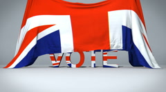 British Flag raises to reveal Vote text - stock footage