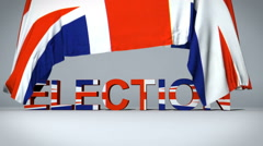 British Flag raises to reveal Election text Stock Footage