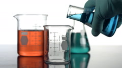Pouring liquid in science beaker - stock footage