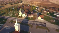 Two scenic rural Churches, old and new together, early morning Stock Footage
