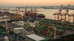 Time lapse of container Port, Tokyo, Japan Stock Footage