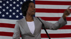 Woman gives political speech Stock Footage