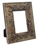 Antique wooden photo frame isolated on white background Stock Photos
