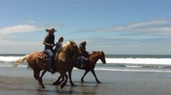 Horseback riding on beach, slow motion - stock footage