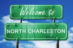 Stock Illustration of north charleston vintage green road sign with blue sky backgroun