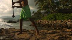 Hawaiian fire knife dancer performs, slow motion. Stock Footage