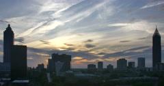 Atlanta Skyline Sun Set Time Lapse Contrail Stock Footage
