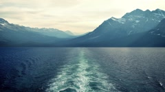 View From Ship To Mountains Stock Footage
