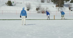 Cricket on ice batting Stock Footage