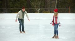 Ice skater couple Stock Footage