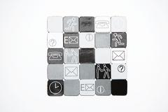 Squares with illustrations on them - stock photo