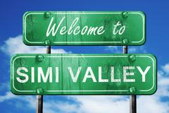 simi valley vintage green road sign with blue sky background - stock illustration