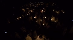 Predawn candlelight for Timkat (Epiphany) in Gondar, Ethiopia Stock Footage
