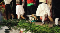 Close up feet of spanish dancers feet when they dance at local festival. - stock footage